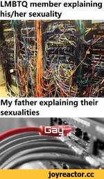 LMBTQ member explaining his/her sexuality My father explaining their sexualities